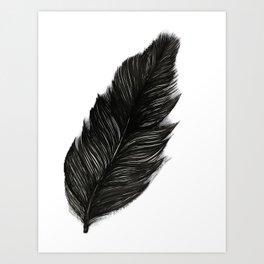 Psalm 91:4 Black Feather Art Print