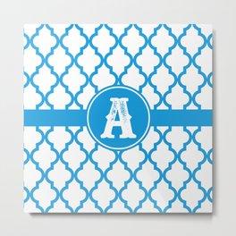 Blue Monogram: Letter A Metal Print