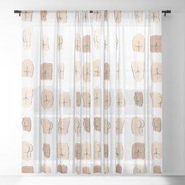 Lotsa Butts! Sheer Curtain