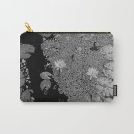 Black and White Lily Pond Carry-All Pouch