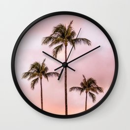 Palm Tree Photography | Landscape | Sunset Unicorn Clouds | Blush Millennial Pink Wall Clock