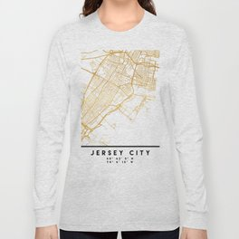 JERSEY CITY NEW JERSEY STREET MAP ART Long Sleeve T-shirt