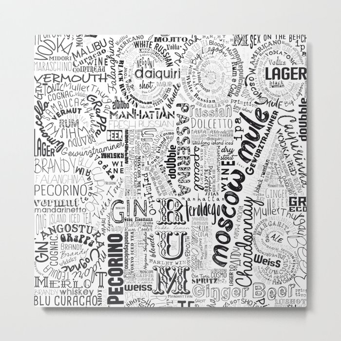 Drinks Full Tag Cloud Metal Print