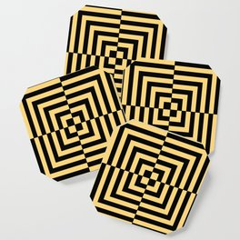 Graphic Geometric Pattern Minimal 2 Tone Illusion Squares (Golden Yellow & Black) Coaster