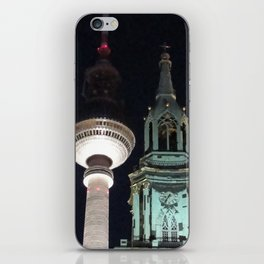 TV Tower and church tower in Berlin at night iPhone Skin