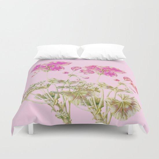 simple pink geranium Duvet Cover