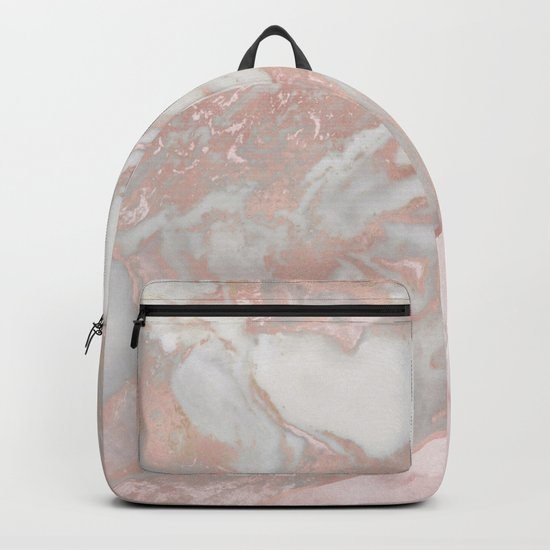 Pink marble & french polished rose gold marble Backpack