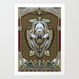 Claddagh Hawk - Celtic Inspired Art Deco Art Print