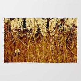 Snow covered pond reeds Rug