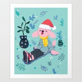 Christmas Pup Art Print