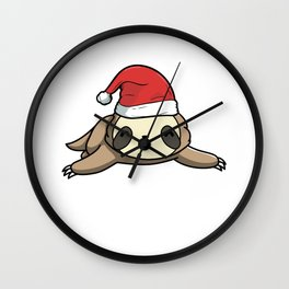 Wake Me Up When It's Christmas Sloth Candy Cane Wall Clock