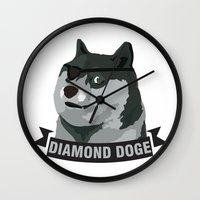 doge Wall Clocks featuring DIAMOND DOGE by MDRMDRMDR
