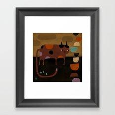 CAT & BOWLS & EMPTY BOOTS Framed Art Print