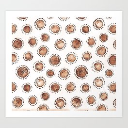 Brown Bubbles, Dots, Pattern Art Print