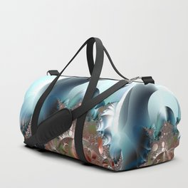 Shimmer on top of the fantasy mountain Duffle Bag