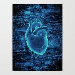 Gamer Heart BLUE TECH / 3D render of mechanical heart Poster