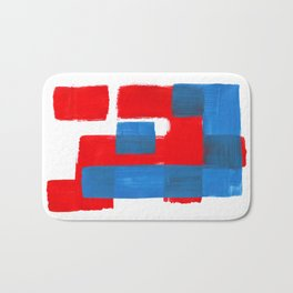 Minimalist Abstract Colorful Mid Century Modern Art Painting Red Blue Brush Strokes Bath Mat