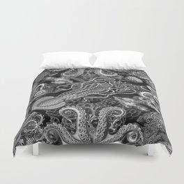 The Kraken (Black & White, Square) Duvet Cover