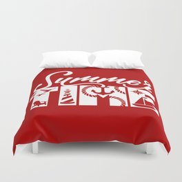 Summer TIME Nautical Solid Red, Seagull, Lounge Chair, Lighthouse, Anchor, Rope, Compass, Sail Boat Duvet Cover