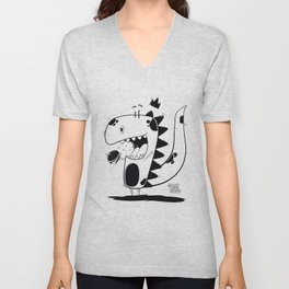 Dino Black and White Unisex V-Neck