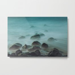 Ocean waves against the rocks Metal Print