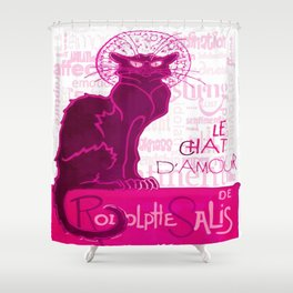 Le Chat D'Amour In Pink With Words of Love Vector Shower Curtain