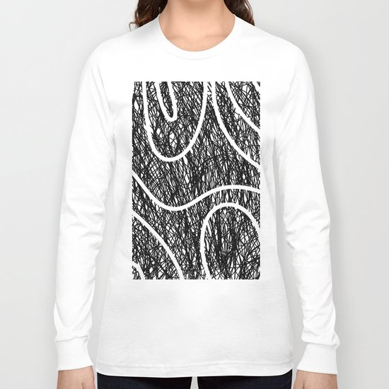 Scribble Ripples - Abstract Black and White Ink Scribble Pattern Long Sleeve T-shirt