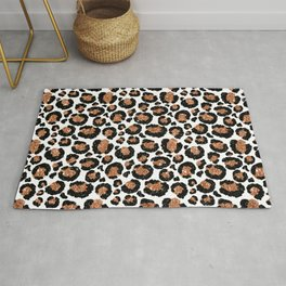 Leopard Metal Glamour Skin on white Rug