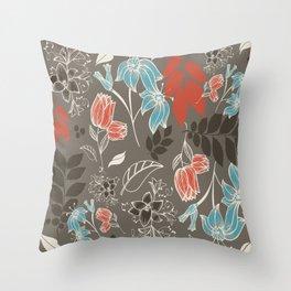 Spring flower brown Throw Pillow