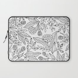 Wildflower Pattern - Black and White Laptop Sleeve
