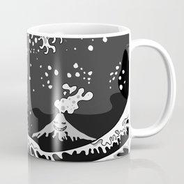 Black and White Psychodelic Kunagawa Surfer Cat Coffee Mug
