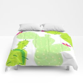 Cactus, green shades, crimson flowers Comforters