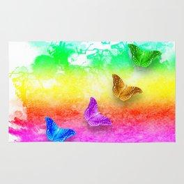 Painted rainbow butterflies Rug