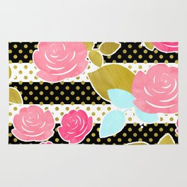 Fun Chic Roses & Black and White Stripes with Gold Dots Rug
