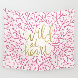 Wild at Heart – Pink & Gold Wall Tapestry