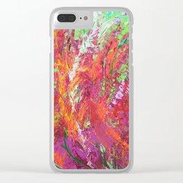Fiery Meadow - modern palette knife abstract landscape by Adriana Dziuba Clear iPhone Case