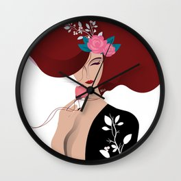 Lilly the japanese floral beauty black dress Wall Clock
