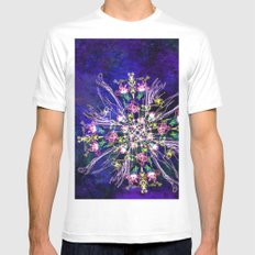 Abstract delicate silk flowers MEDIUM Mens Fitted Tee White