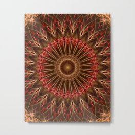 Brown and red color mandala Metal Print