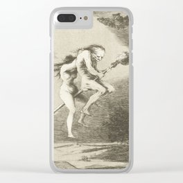 Witches on a Broomstick by Francisco Goya, 1797 Clear iPhone Case