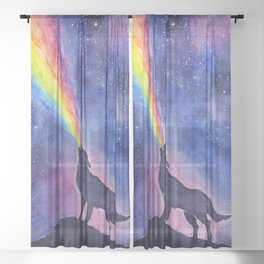 Galaxy Wolf Howling Rainbow Sheer Curtain