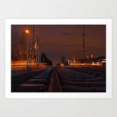 Railway at night Art Print