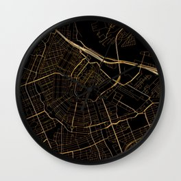 Black and gold Amsterdam map Wall Clock
