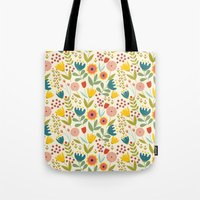 scandinavian Tote Bags featuring Scandinavian summer by Olly Dolly Design