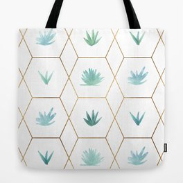 Geometric Succulents Tote Bag