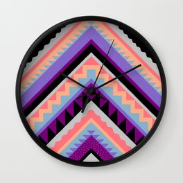 Wavy Chevron - Peach Plum Wall Clock