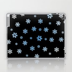 Snowflakes (Blue & White on Black) Laptop & iPad Skin