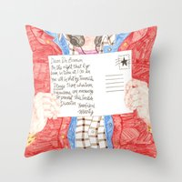 postcard Throw Pillows featuring Postcard by cristina zavala