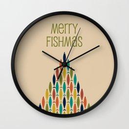 Merry Fishmas - Midcentury Modern Christmas Fish Wishes Wall Clock