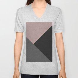 Dusty Blush meets Charcoal & Gray Geometric #1 #minimal #decor #art #society6 Unisex V-Neck